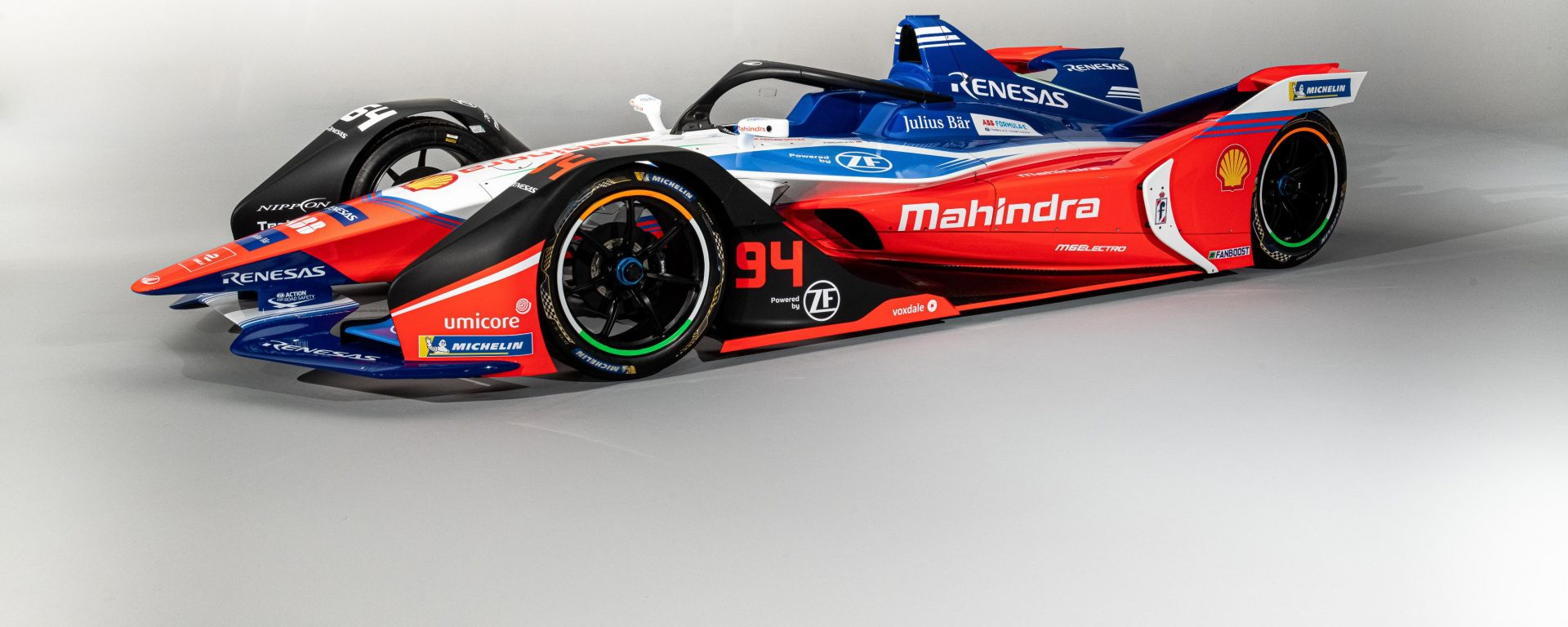 Formula E 2019-2020: Mahindra M6Electro, vista 3/4 anteriore
