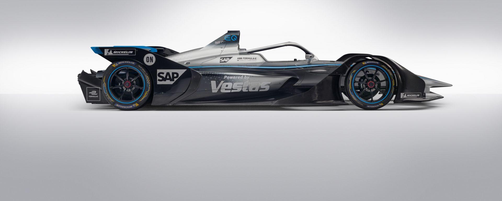 Formula E 2019-2020, presentazione Mercedes EQ Silver Arrow 01: vista laterale