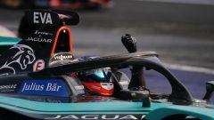 Formula E 2020, ePrix Città del Messico: l'esultanza di Mitch Evans (Jaguar) dopo il traguardo