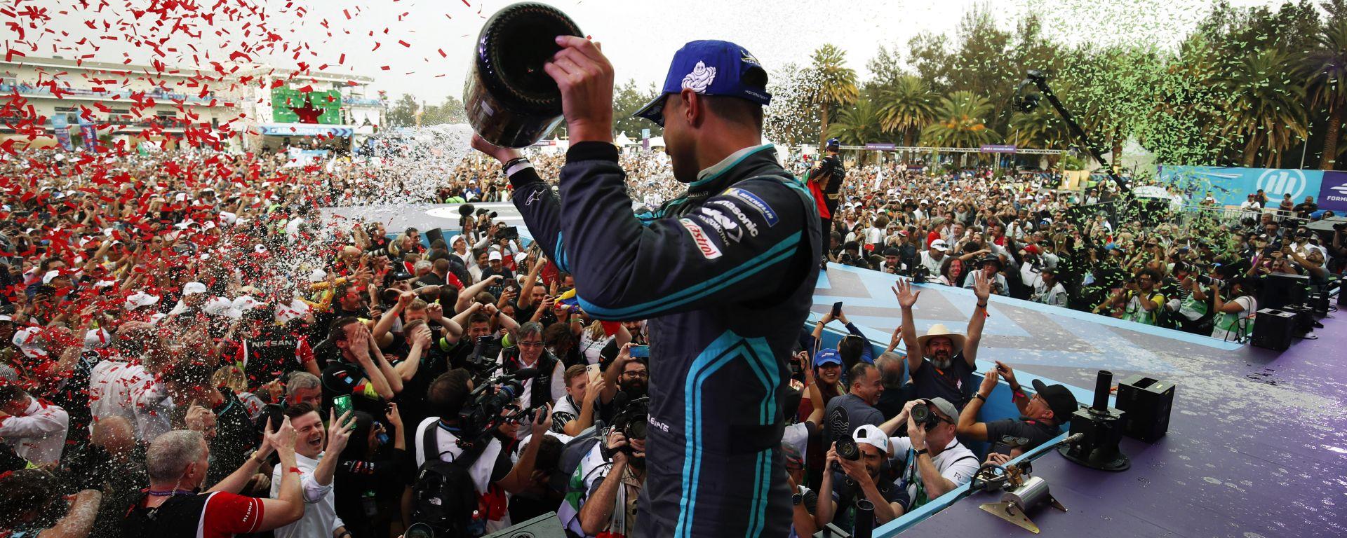 Formula E 2020, ePrix Città del Messico: Mitch Evans (Jaguar) festeggia sul podio