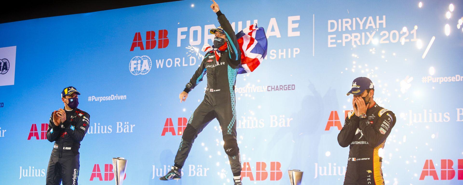 Formula E ePrix Ad Diriyah 2021: Sam Bird (Jaguar) esulta sul podio