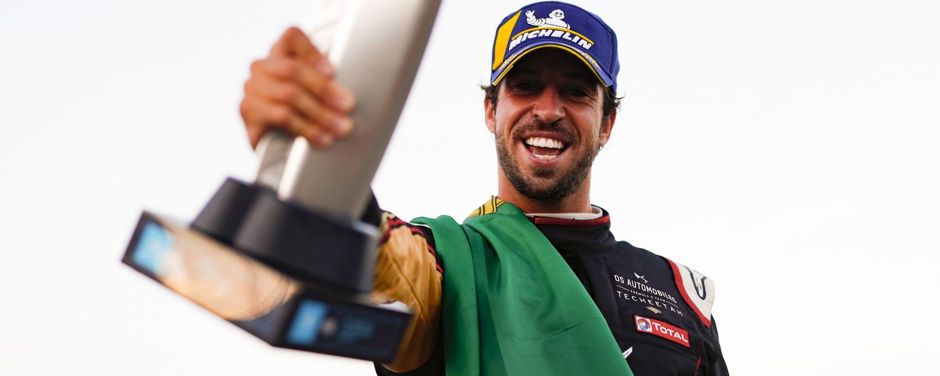 Formula E ePrix Berlino-2 2020: Antonio Felix Da Costa (Ds Techeetah) festeggia la vittoria di gara-2