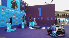 Formula E ePrix Berlino-2 2020: il podio con Da Costa (Ds), Buemi (Nissan) e Di Grassi (Audi)