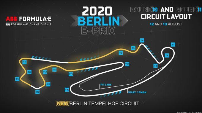 Formula E ePrix Berlino 2020: il disegno del nuovo tracciato di Tempelhof (in giallo le modifiche)