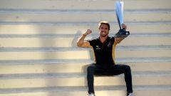 Formula E ePrix Marrakech 2020: Antonio Felix Da Costa (DS Techeetah) esulta con il trofeo del 1° posto