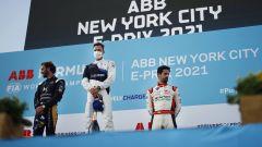 Formula E ePrix New York 2021, Brooklyn: il podio con Gunther (Bmw), Vergne (Ds) e Di Grassi (Audi)