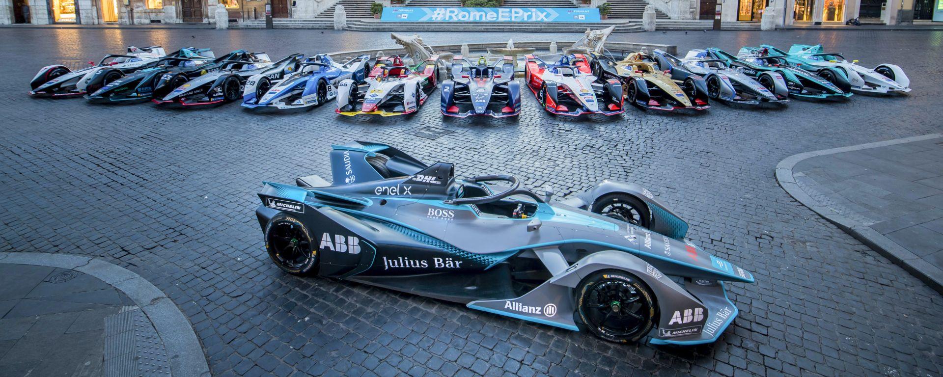 Formula E, ePrix Roma 2019: le macchine schierate nel centro storico della Capitale