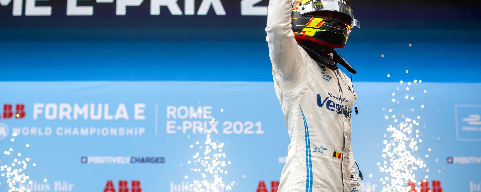 Formula E ePrix Roma 2021: Stoffel Vandoorne (Mercedes EQ) esulta dopo il traguardo