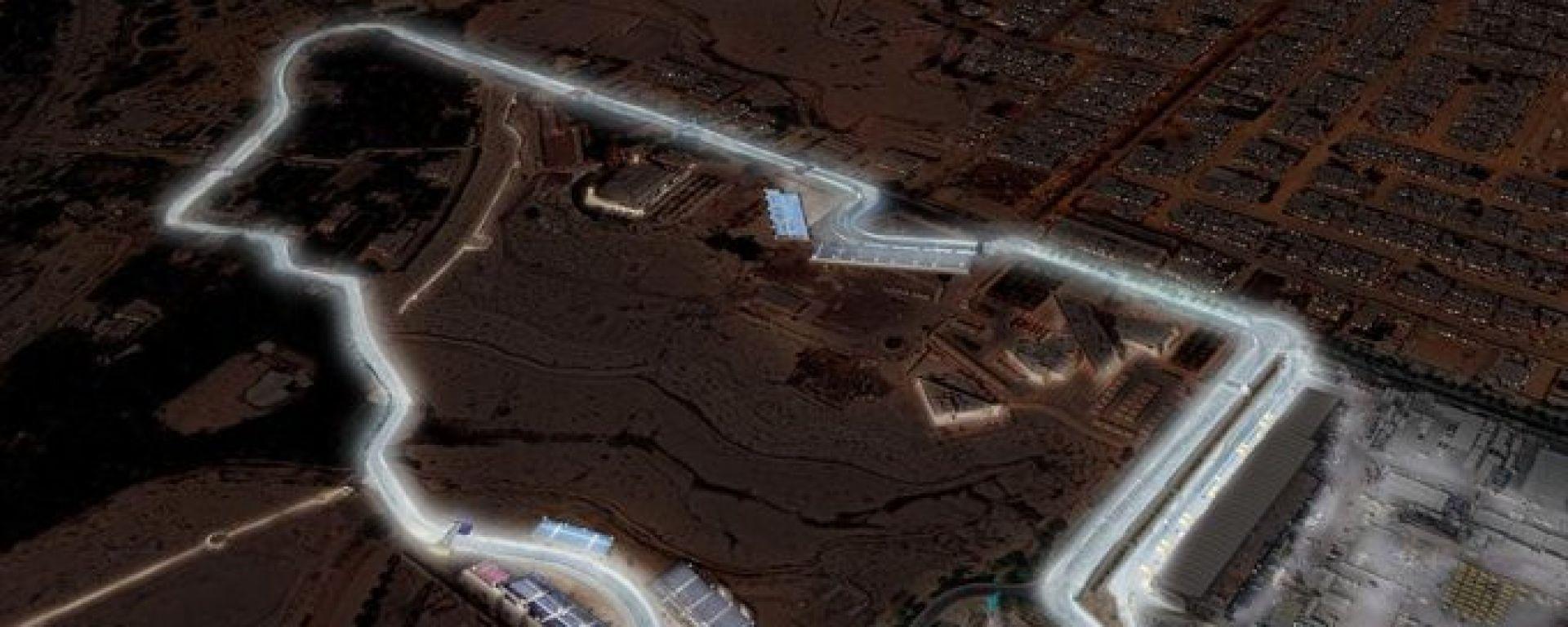 Formula E, la vista aerea del circuito di Ad Diriyah illuminato a giorno dai fari led