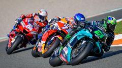 Franco Morbidelli (Yamaha), Alex Marquez (Honda) e Andrea Dovizioso (Ducati)