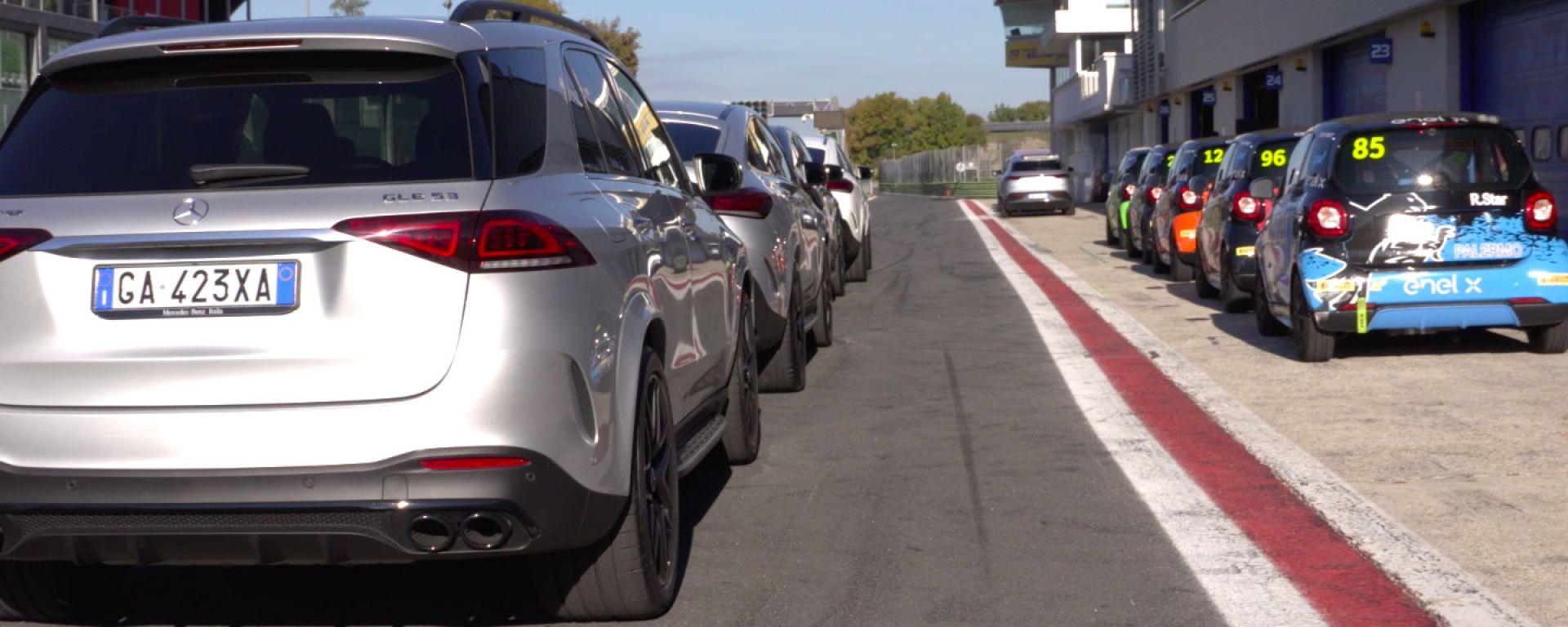 """Mercedes e le emozioni """"elettrizzanti"""", dalla GLE 63 AMG S alla Smart e-Cup"""