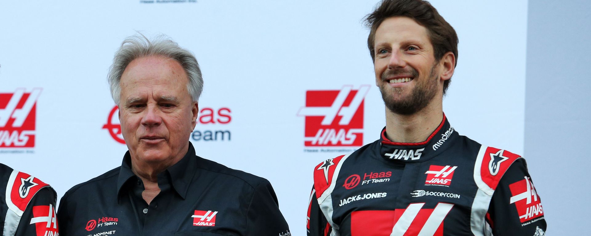 Gene Haas e Romain Grosjean alla presentazione del team Haas 2020