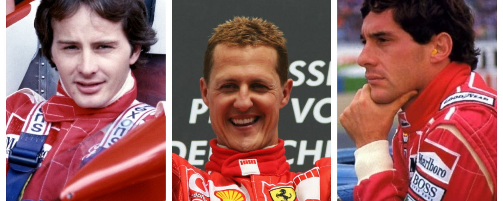 Gilles Villeneuve, Michael Schumacher e Ayrton Senna