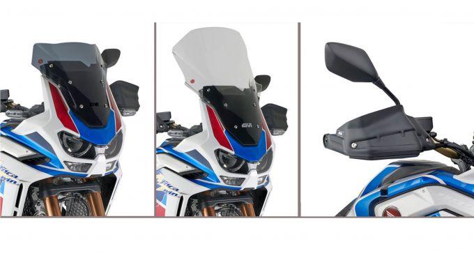 Givi, i parabrezza e l'estensione in plexiglas dei paramani per Honda Africa Twin 1100 Adventure Sport 2020
