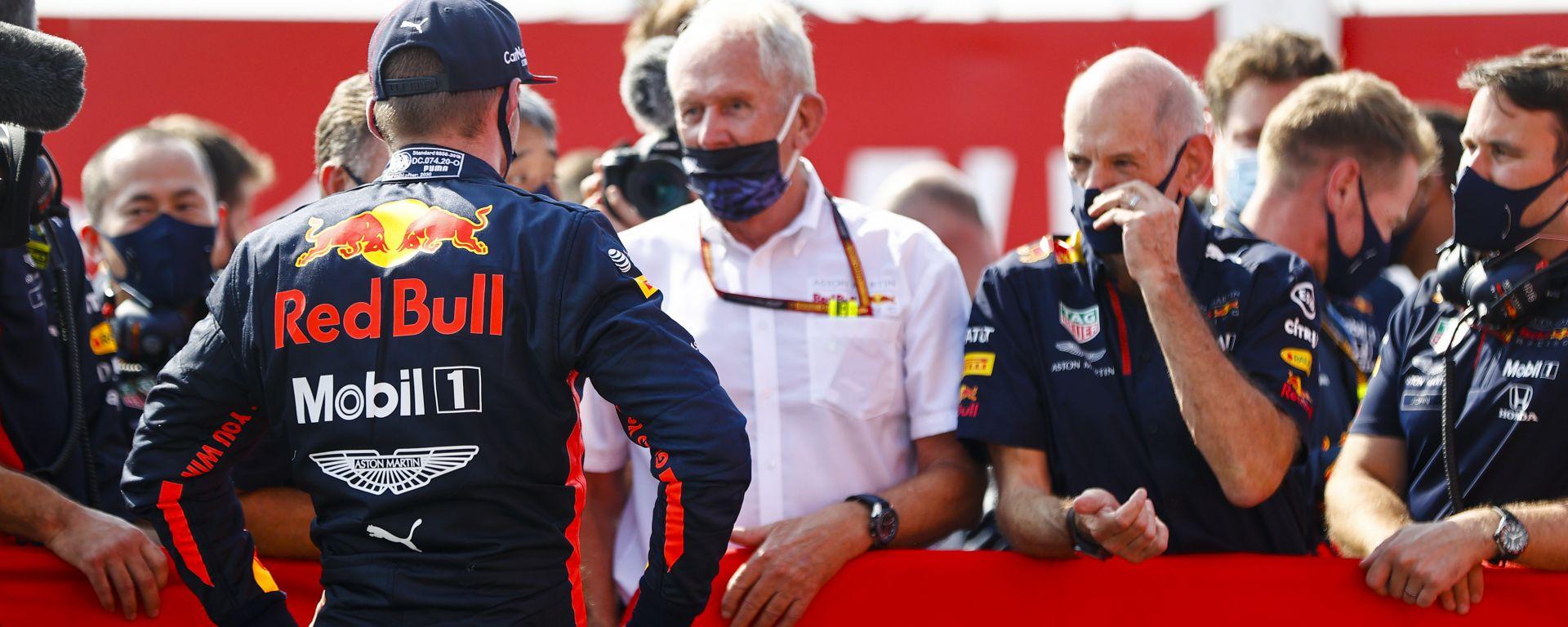 GP 70° Anniversario F1, Silverstone: Helmut Marko e Max Verstappen (Red Bull) dopo il traguardo