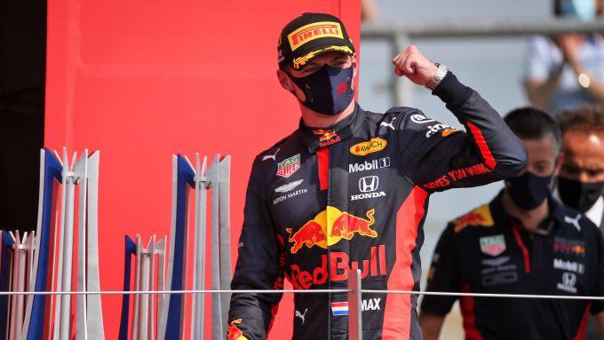 GP 70° Anniversario F1, Silverstone: Max Verstappen (Red Bull Racing) esulta dopo il traguardo