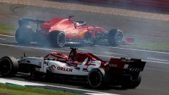 GP 70° Anniversario F1, Silverstone: Sebastian Vettel (Ferrari) si gira a inizio gara