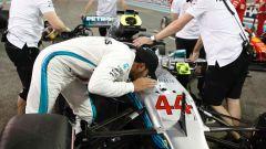 GP Abu Dhabi 2018, qualifiche: Lewis Hamilton bacia la sua Mercedes