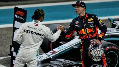GP Abu Dhabi 2019, Yas Marina: Max Verstappen (Red Bull) e Lewis Hamilton (Mercedes)