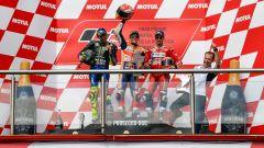 GP Argentina 2019, il podio con Rossi, Marquez e Dovizioso