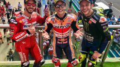 GP Argentina 2019, sul podio festeggiano con Dovizioso, Marquez e Rossi