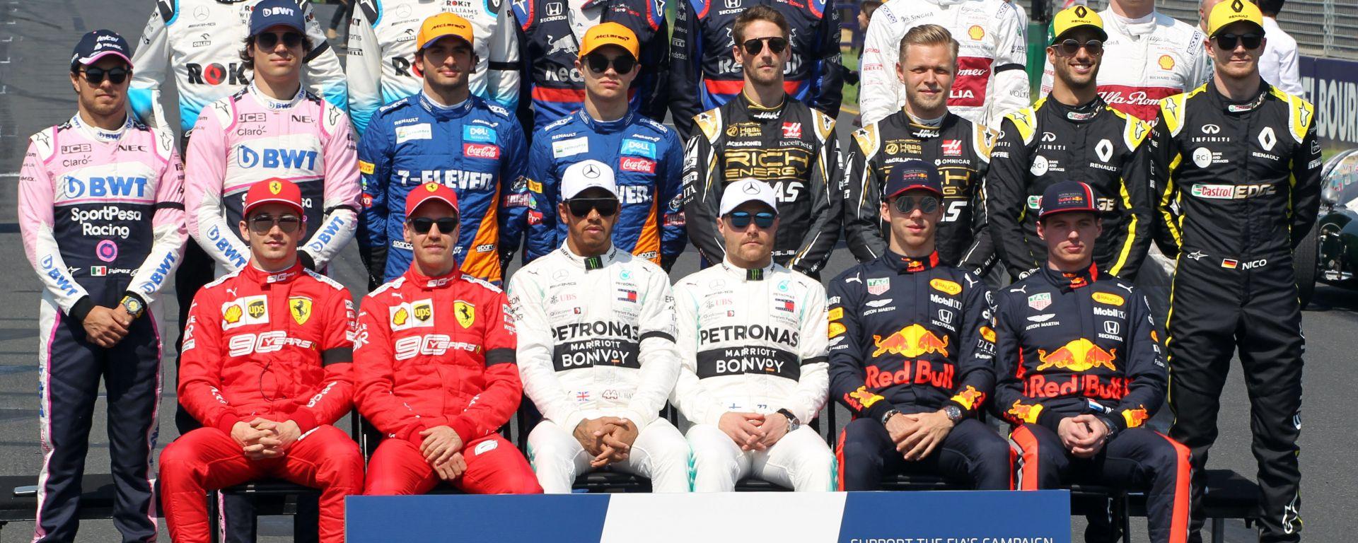 GP Australia 2019, i piloti schierati sulla griglia di partenza