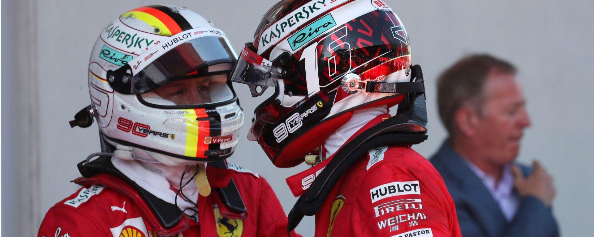 GP Austria 2019, Ferrari, Sebastian Vettel consola Charles Leclerc a fine gara
