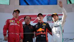 GP Austria 2019, il podio del Red Bull Ring: Max Verstappen (Red Bull) tra Charles Leclerc (Ferrari) e Valtteri Bottas (Mercedes