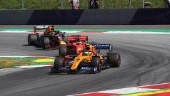 GP Austria 2019, Lando Norris (McLaren) alle prese con Vettel e Verstappen nelle prime fasi di gara
