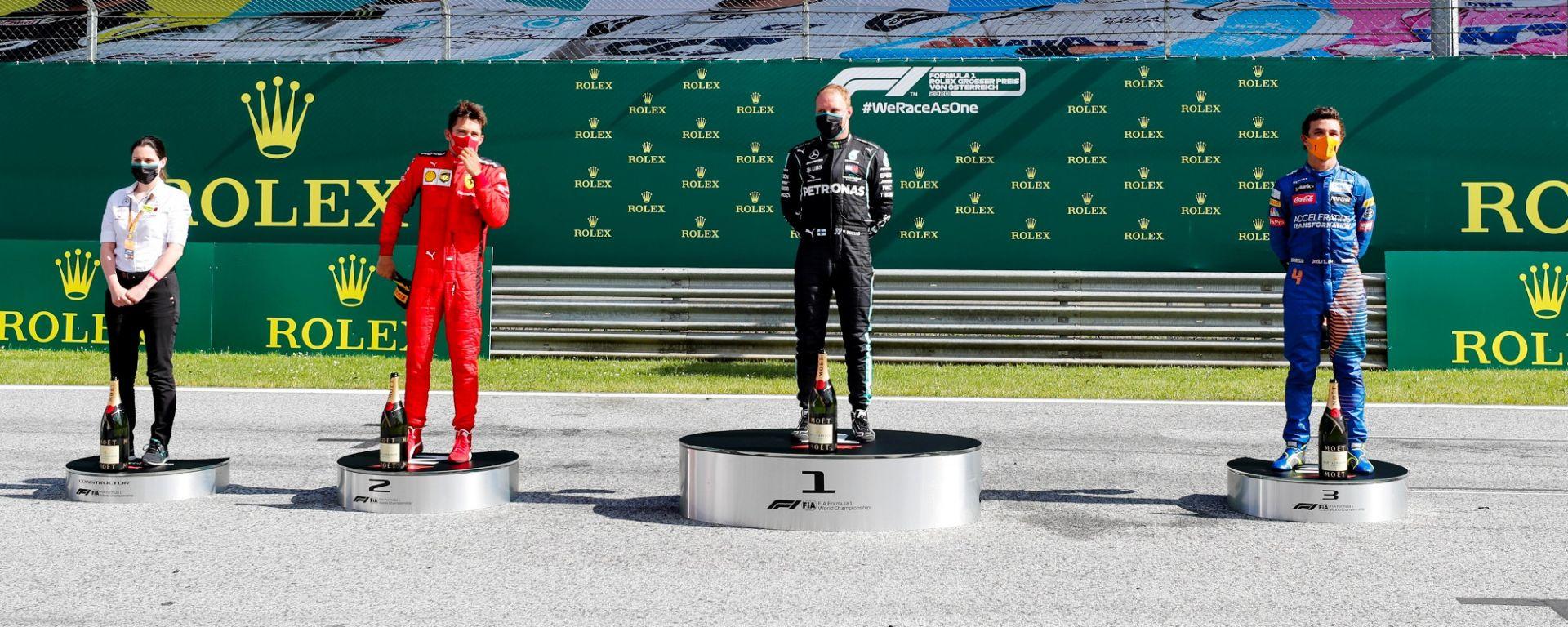 GP Austria 2020, Spielberg: il podio con Leclerc (Ferrari), Bottas (Mercedes) e Norris (McLaren)