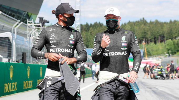 GP Austria 2020, Spielberg: Lewis Hamilton e Valtteri Bottas (Mercedes)