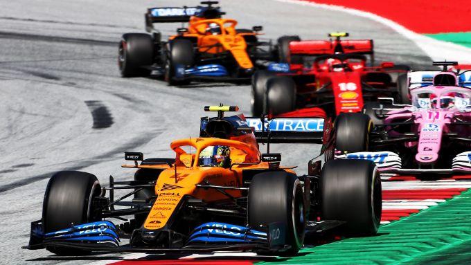 GP Austria 2020, Spielberg: Norris (McLaren), Perez (Racing Point), Leclerc (Ferrari) e Sainz (McLaren)