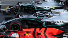 GP Azerbaijan 2019, qualifiche: Valtteri Bottas e Lewis Hamilton (Mercedes), Sebastian Vettel (Ferrari)