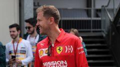 GP Azerbaijan 2019, Sebastian Vettel (Ferrari) arriva nel padock di Baku