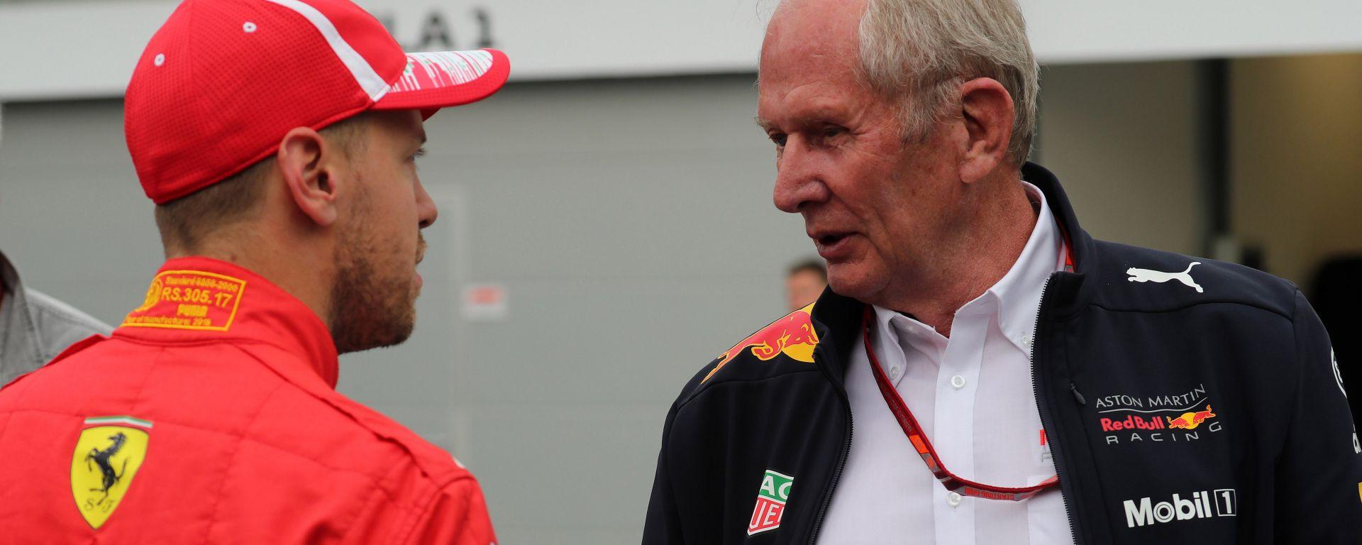 GP Azerbaijan 2019, Sebastian Vettel (Ferrari) e Helmut Marko (Red Bull)