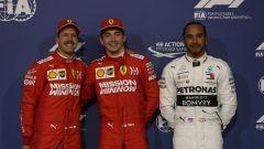 GP Bahrain 2019, Charles Leclerc (Ferrari) in mezzo a Sebastian Vettel e Lewis Hamilton (Mercedes)