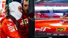 GP Belgio 2018, Sebastian Vettel nel box della Ferrari durante le FP2