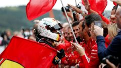 GP Belgio 2018, Spa Fracorchamps, Sebastian Vettel festeggia la vittoria della Ferrari