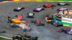 GP Belgio 2018, Spa-Francorchamps, l'incidente al via tra Hulkenberg, Alonso e Leclerc