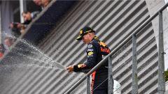 GP Belgio 2018, Spa Francorchamps: Max Verstappen festeggia il terzo posto ottenuto con la sua Red Bull