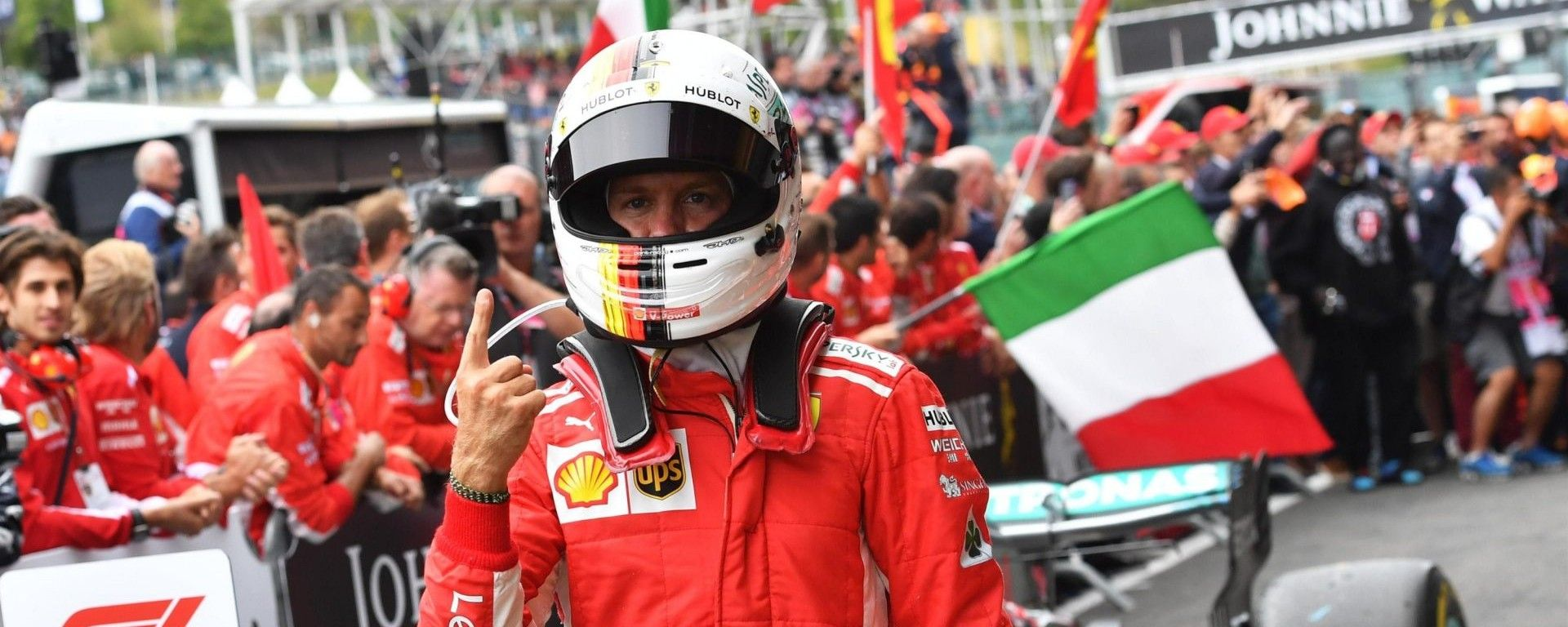 GP Belgio 2018, Spa Francorchamps: Sebastian Vettel festeggia la vittoria con la Ferrari