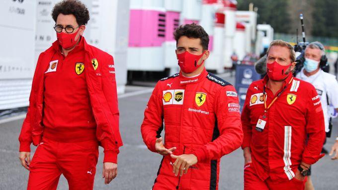 GP Belgio 2020, Spa Francorchamps: Mattia Binotto e Charles Leclerc (Ferrari)