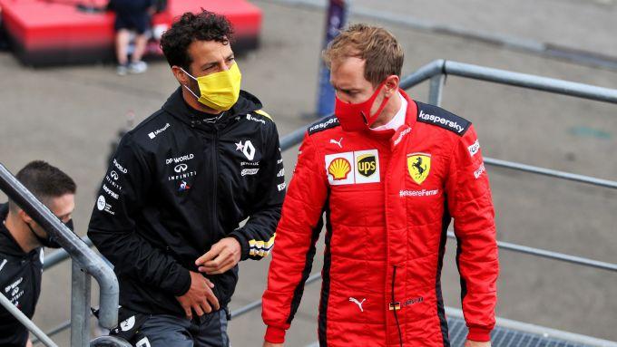 GP Belgio 2020, Spa Francorchamps: Sebastian Vettel (Ferrari) e Daniel Ricciardo (Renault)