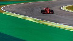 GP Brasile 2018, Sebastian Vettel in azione con la sua Ferrari
