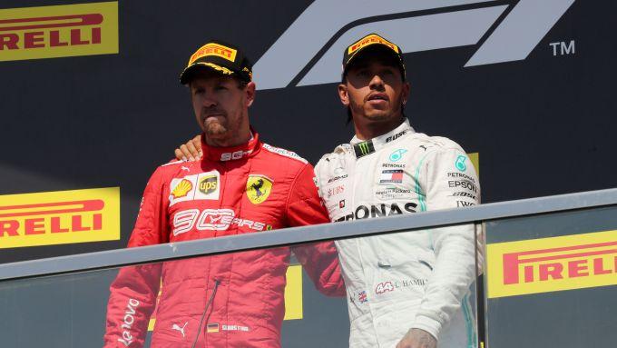 GP Canada 2019, Sebastian Vettel (Ferrari) e Lewis Hamilton (Mercedes)