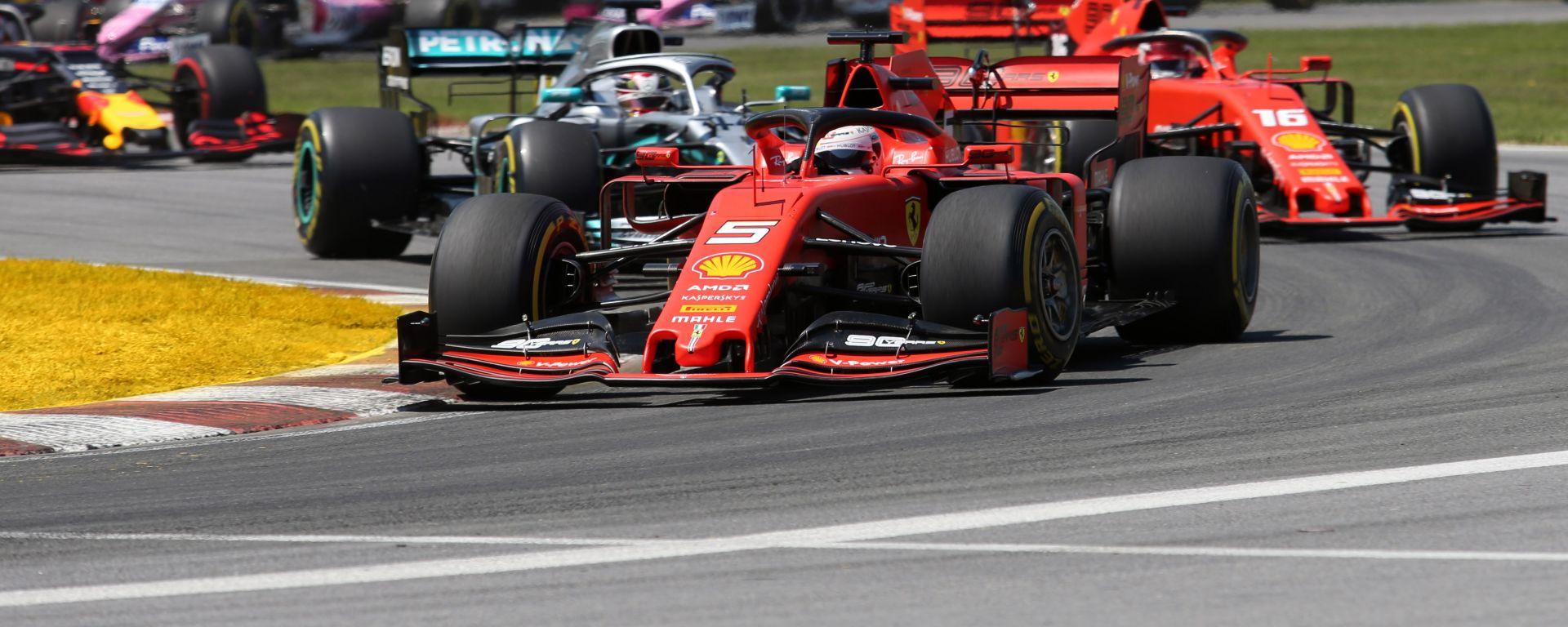 GP Canada, Vettel leader dopo la partenza