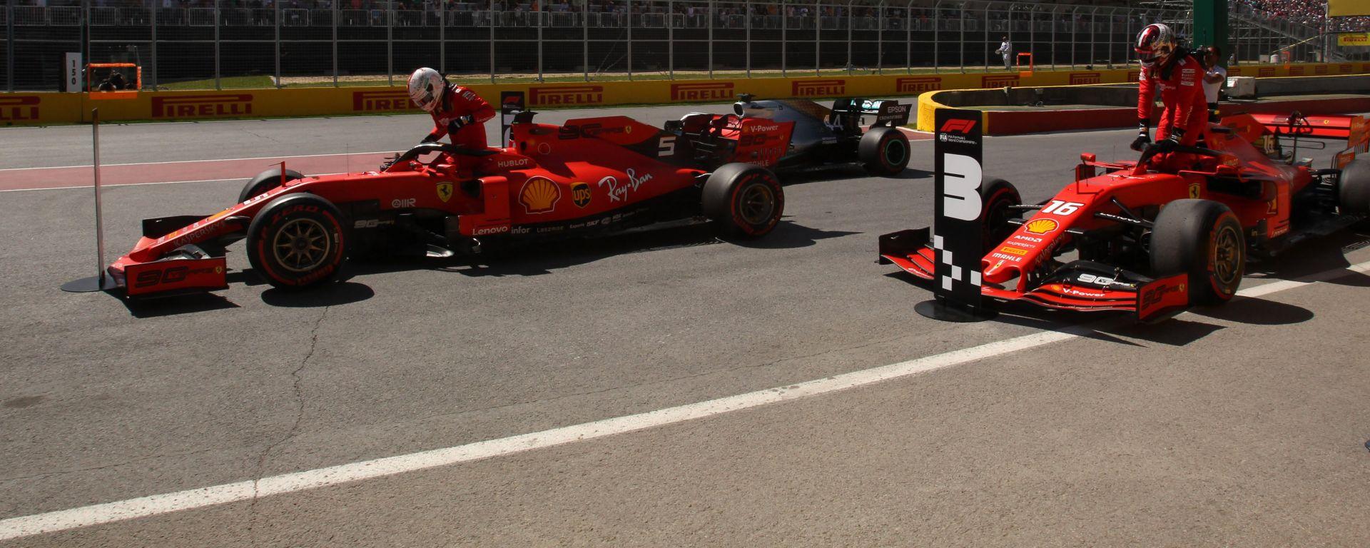 GP Canada, Vettel parcheggia la sua SF90 dopo la pole position