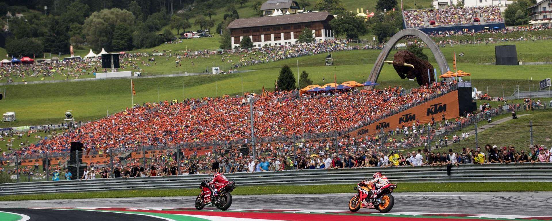 GP d'Austria 2019 al Red Bull Ring di Spielberg: Andrea Dovizioso (Ducati) e Marc Marquez (Honda)