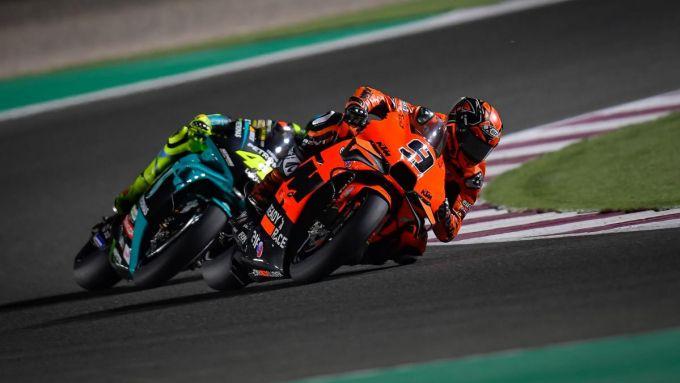 GP Doha 2021, Danilo Petrucci (Red Bull KTM Tech3) e Valentino Rossi (Yamaha Petronas)