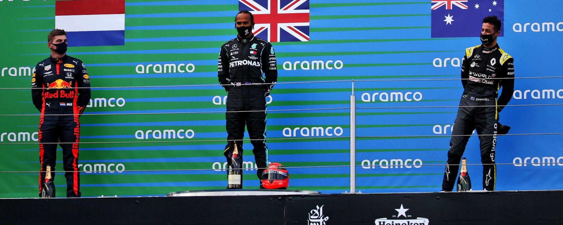 GP Eifel 2020, Nurburgring: il podio con Verstappen, Hamilton e Ricciardo